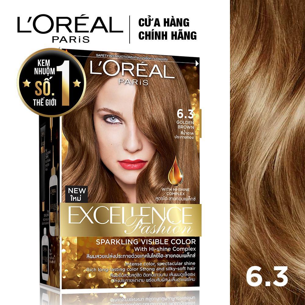 Hình ảnh Kem nhuộm dưỡng tóc L'Oreal Paris Excellence Fashion màu #6.3 172ml (Nâu vàng)