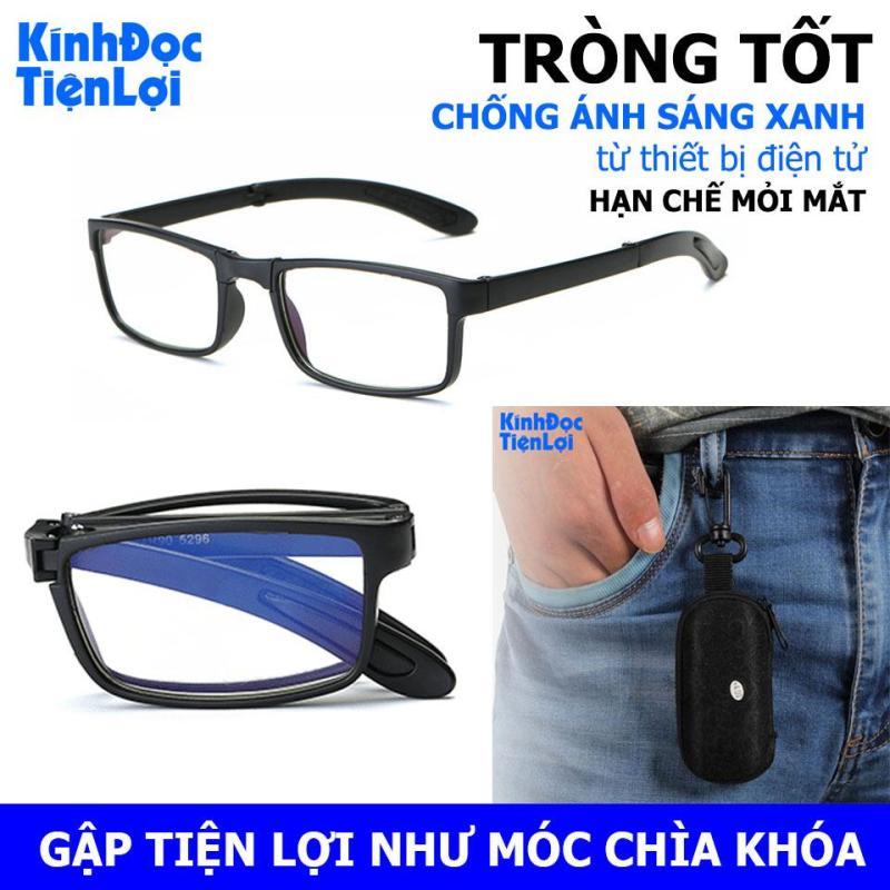 Giá bán Kính viễn cho người già Kính đọc gập gọn có túi đựng - Kính lão Tròng kính chống ánh sáng xanh Từ 1-4 độ