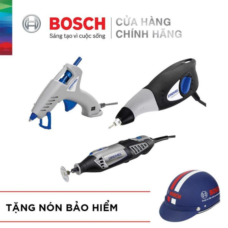 Bộ sản phẩm Dremel Bosch - Máy khắc chạm, Súng bắn keo 930 và Dụng cụ đa năng Dreamel 4000 4/65