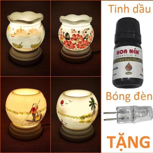 Đèn xông tinh dầu sứ Bát Tràng cỡ TO TẶNG Tinh dầu + Bóng11 x 13cm / Đuổi muỗi Diệt muỗi Đèn trang trí