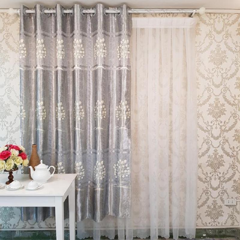 Rèm Cửa Sổ may sẵn -  Vải gấm in cao cấp - Họa tiết bình hoa thiết kế riêng - Một Tấm 170x200 cm - Khoen Lỗ Cao Cấp R7-11