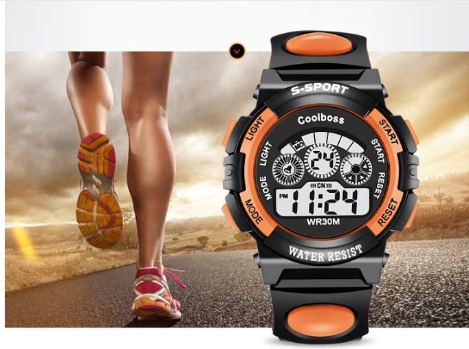 Đồng hồ trẻ em COOLBOSS 0119 cao cấp tặng kèm 01 pin( Màu cam ) bán chạy