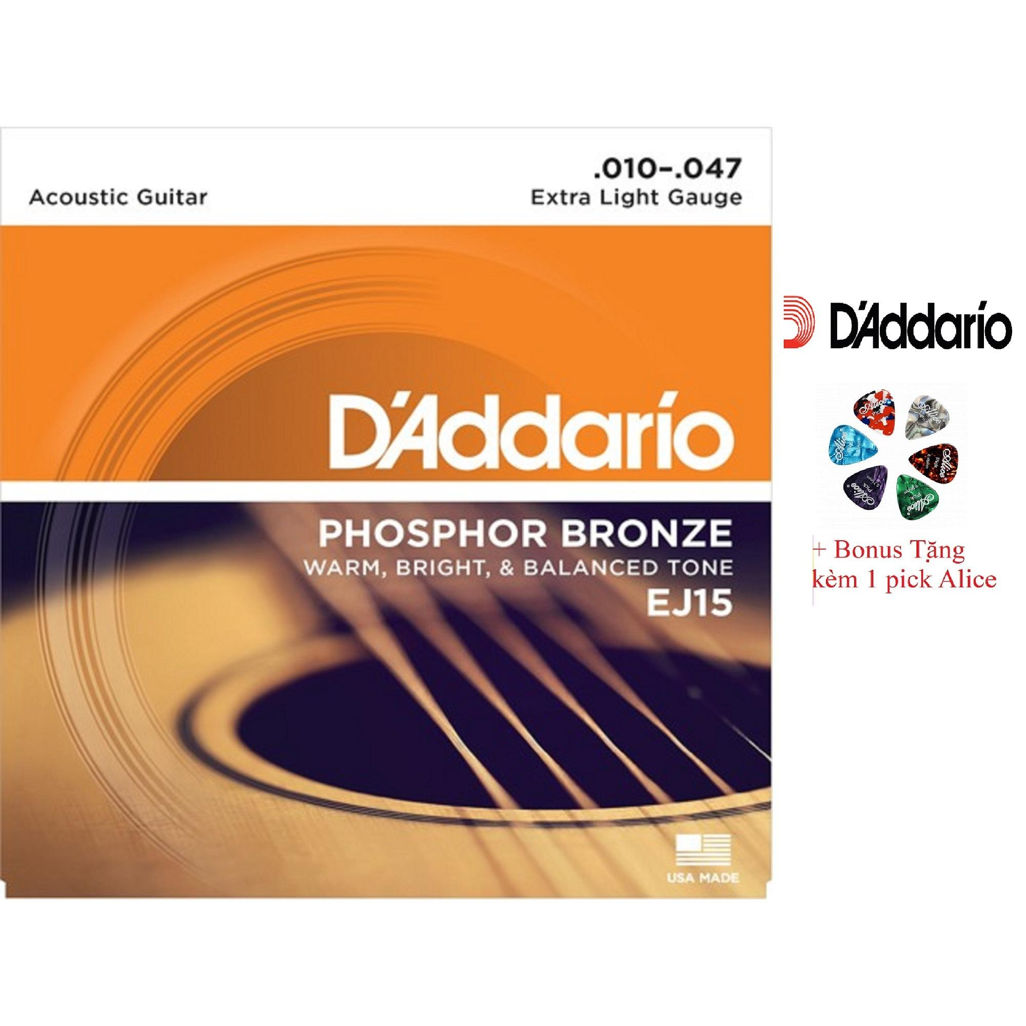 Mua Bộ Hộp 6 Day Đan Guitar Acoustic D Addario Ej15 Cao Cấp Pick Alice Cỡ 10 D Addadrio Nguyên