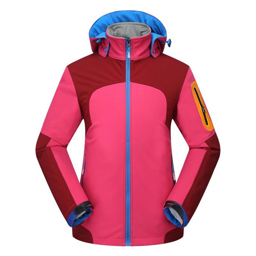 Women Soft Shell Rainproof Thick Fleece Thermal Hiking Camping Jackets