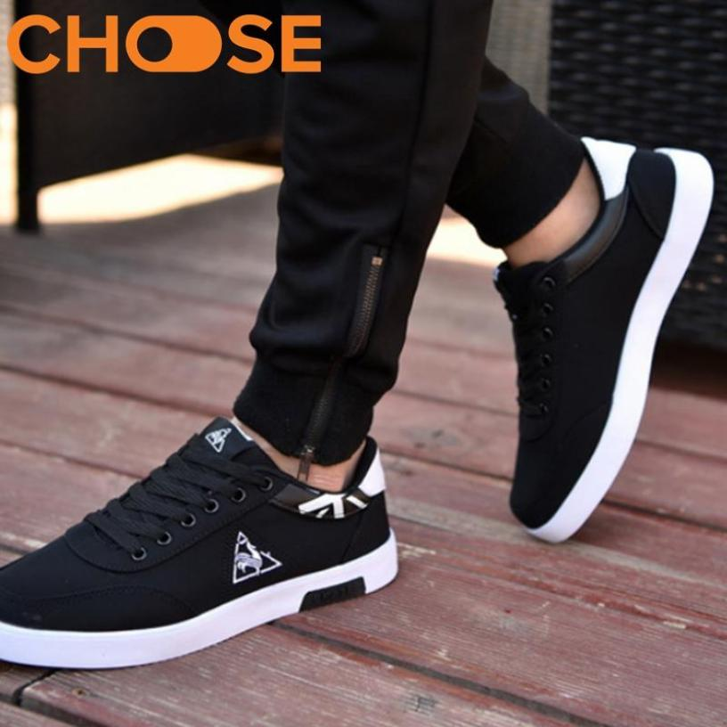 (XẢ KHO HÀNG TỒN) Giày thể thao Sneaker đen đỏ Họa Tiết Tam Giác Phá Cách 0601 giá rẻ