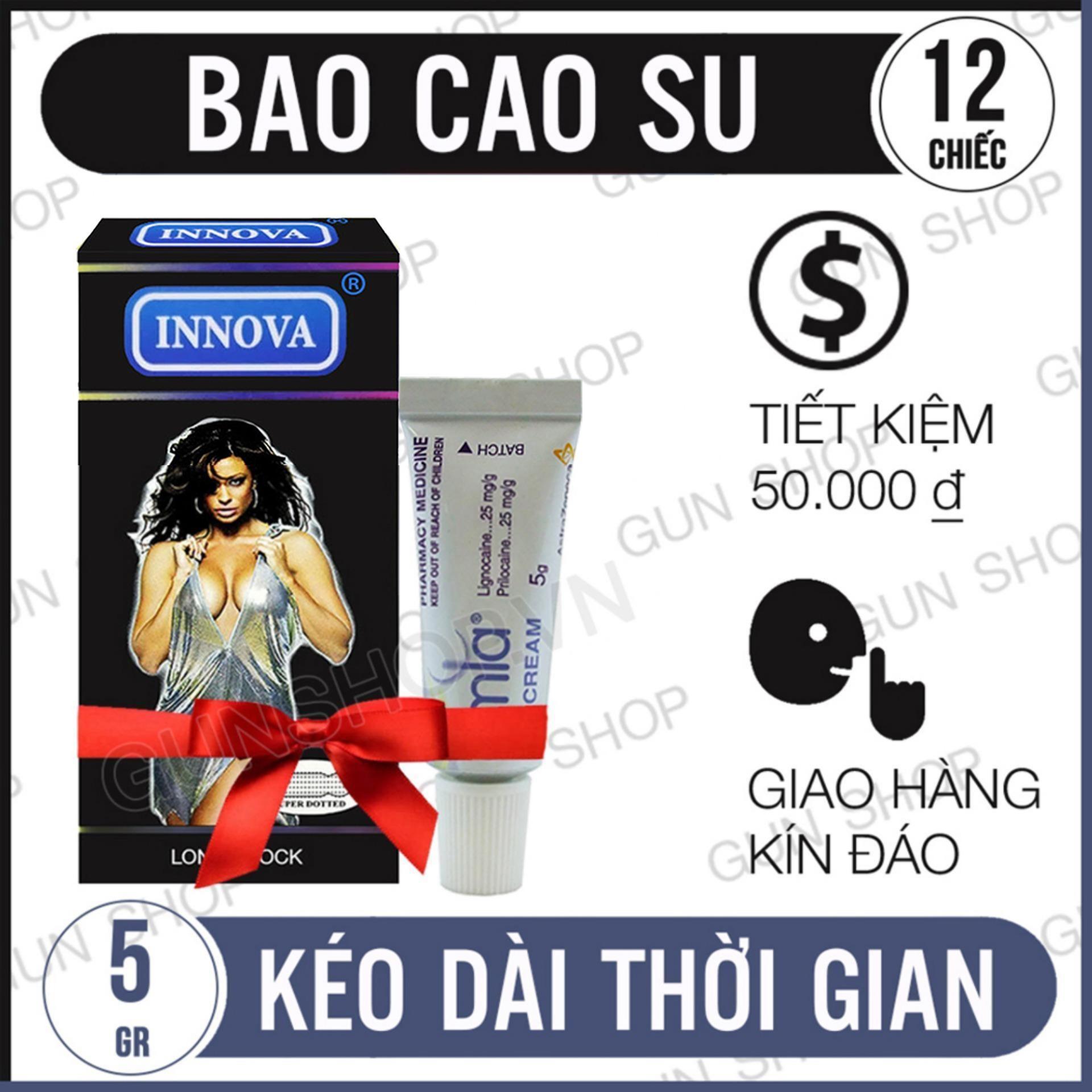 Bộ Kéo Dài Thời Gian Bao Cao Su Innova Đen (Hộp 12 chiếc) Và Tinh Chất Chống Xuất Tinh Sớm Emla Cream 5% [GUNSHOP -TK01] cao cấp