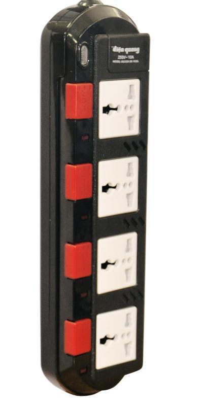 Ổ cắm Điện Quang ĐQ ESK 2B. SM740SL (4 lỗ 3 chấu dây 2 mét màu Đen Trắng Đỏ)