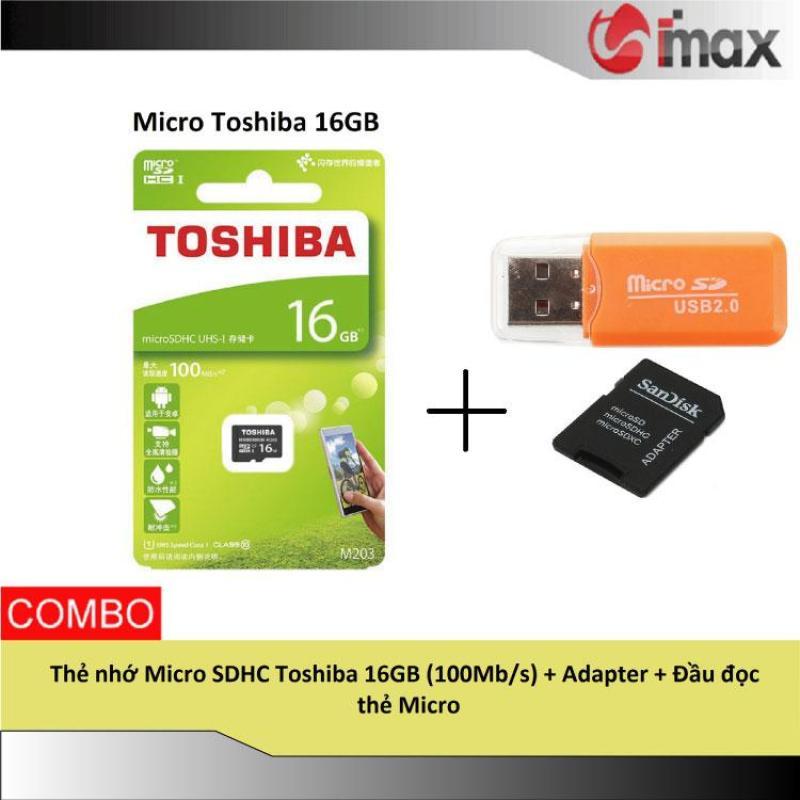 Thẻ nhớ Micro SDHC Toshiba 16GB (100Mb/s) + Adapter + Đầu đọc thẻ Micro