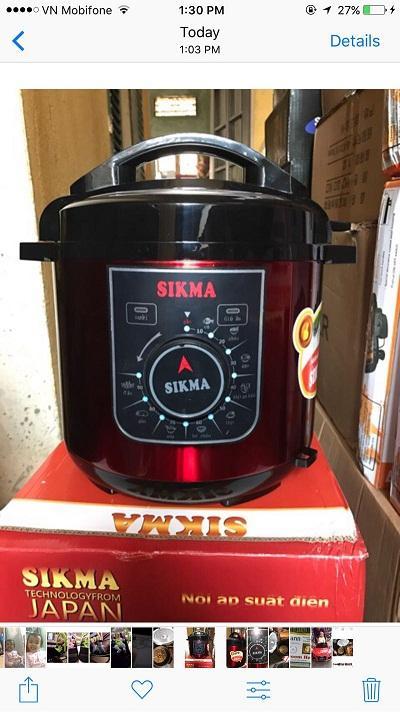 Hình ảnh Nồi áp suất điện đa năng SIKMA 6L (màu đỏ)