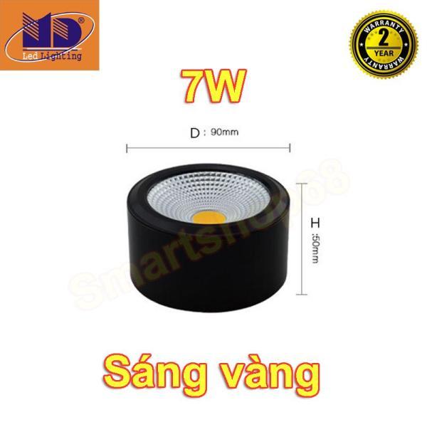 Đèn led ống bơ COB 7W vỏ đen sáng vàng