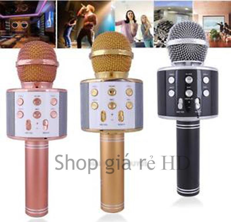 Hình ảnh Mic Hát Karaoke Cho Điện Thoại, Micro Liền Loa Bluetooth Ws 858 Cao Cấp Mã 14