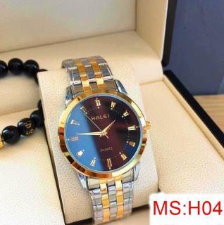 đồng hồ nam halei dây pha vàng ,mặt đen,chống nước chống xước tuyệt đối thumbnail