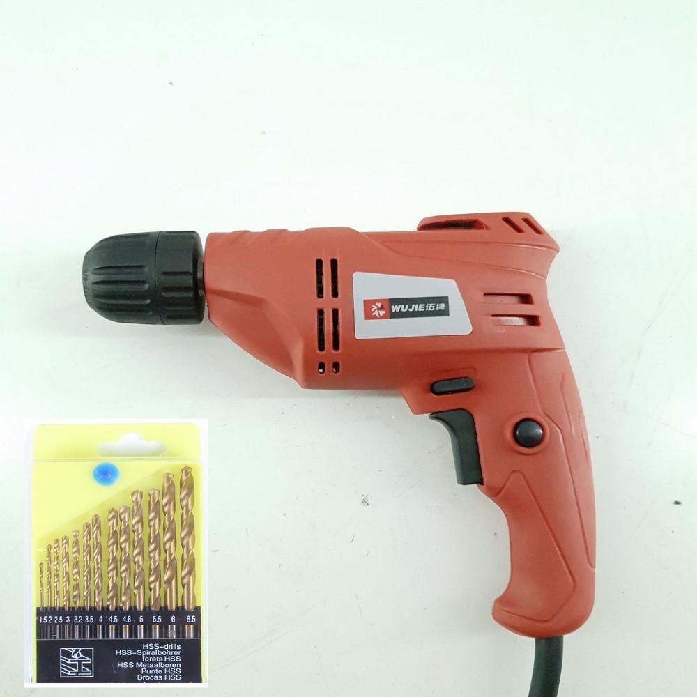 Máy khoan cầm tay WUJIE-J10A 450W 0~3000r/min + 13 mũi khoan không rỉ ( Khoan tường, gỗ, Sắt , Lõi đồng )