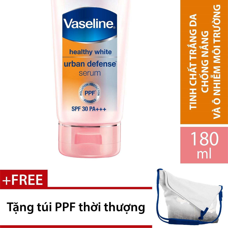 Hình ảnh Tinh chất dưỡng thể trắng da chống nắng và ô nhiễm môi trường VASELINE SPF 30 PA +++ 180ml + Tặng túi Canvas nắp chéo