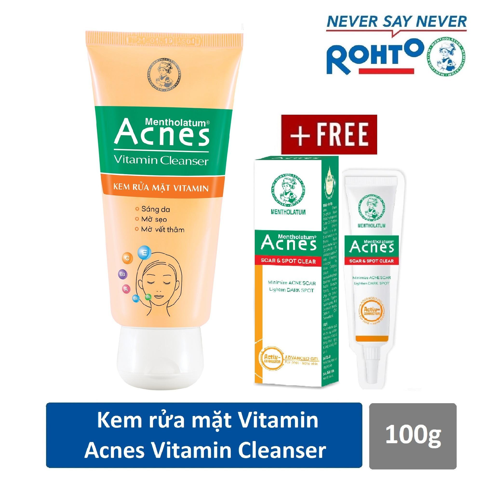 Hình ảnh Kem rửa mặt VITAMIN ACNES VITAMIN Cleanser 100g + Gel sáng thâm mờ sẹo Acnes Scar and Spot Clear 2g
