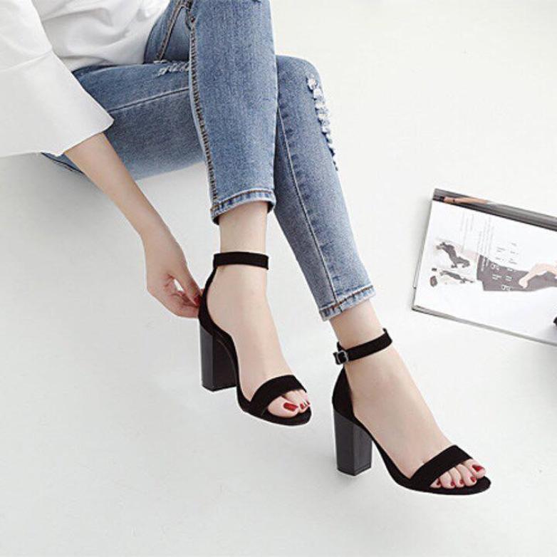 [ẢNH THẬT] Giày cao gót sandal quai bản đen SD01 thiết kế điệu đà, duyên dáng, trẻ trung, thời trang giá rẻ