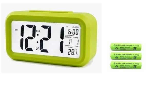 Đồng Hồ Điện Tử Để Bàn Có Đèn LED Phát Sáng Ban Đêm, Lịch, Hẹn GIờ, Báo Thức + 3 Pin Đũa Sạc AAA ( Lắp Cho Đồng Hồ Sạc Lại Được ) bán chạy
