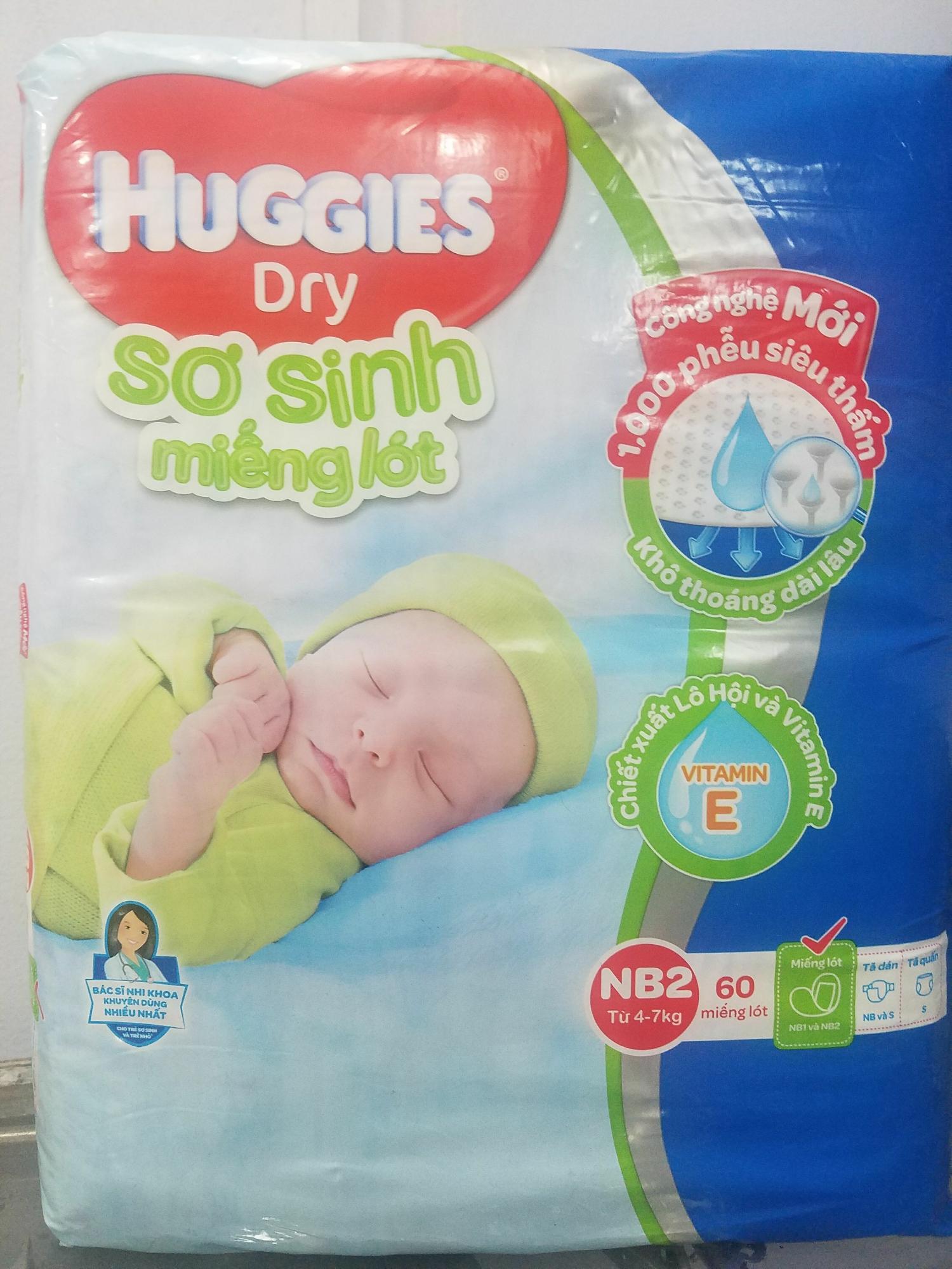 Miếng lót sơ sinh huggies nb2-60 miếng