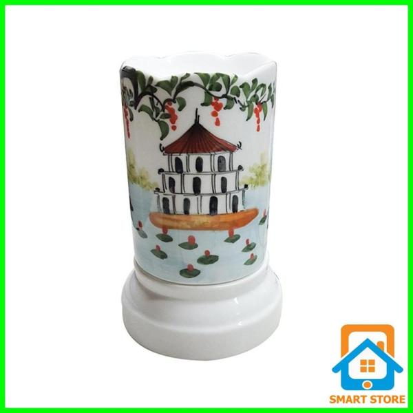 Đèn xông tinh dầu sứ Bát Tràng hình Ống cỡ TO 9 x 16,5cm / Đuổi muỗi Diệt muỗi Đèn trang trí SS35