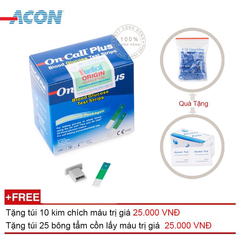Que thử đường huyết Acon On call Plus  25 que (Xanh trắng) + Tặng túi 10 kim chích máu + Tặng túi 25 bông tẩm cồn lấy máu