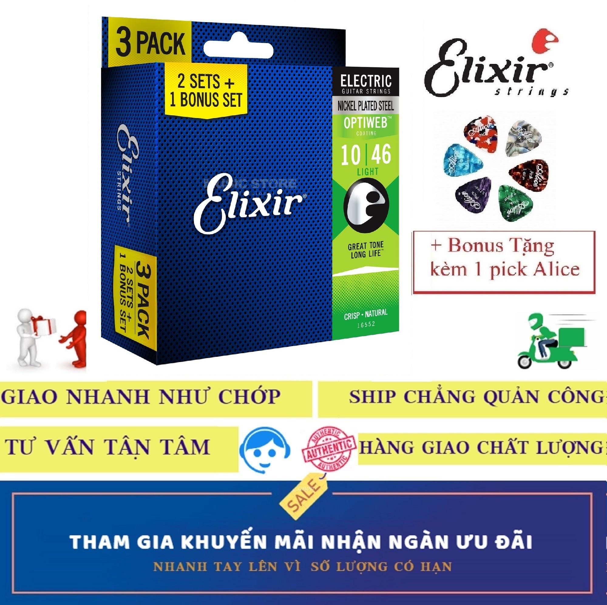 Combo Pack 3 Bộ Dây Đàn Elixir cao cấp 16552 (Cỡ 10) Electric Guitar điện Nickel Plated Steel With OPTIWEB COATING Strings