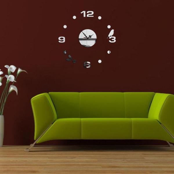 Đồng hồ treo tường nghệ thuật - Chim Và Lá