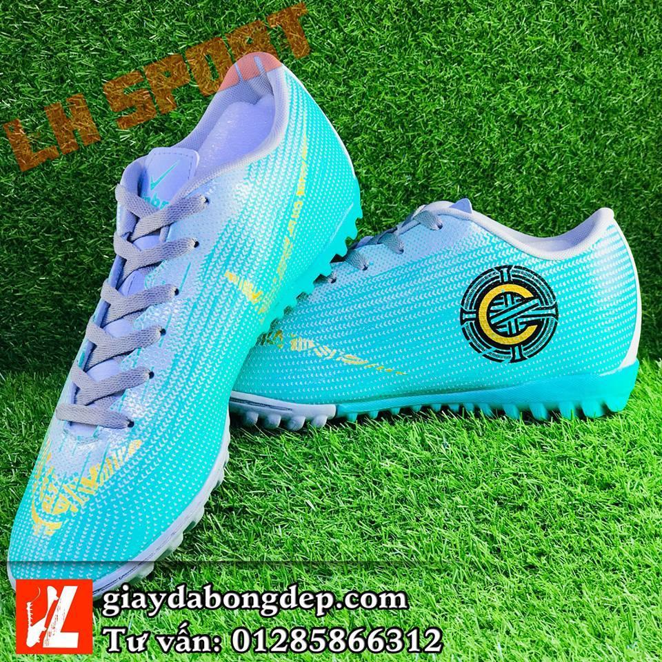 Hình ảnh Giày đá bóng MERCURI VAPOR CR7 xanh xám siêu đẹp, giày nhẹ và bền, đã khâu mũi chắc chắn (TẶNG KÈM VỚ)