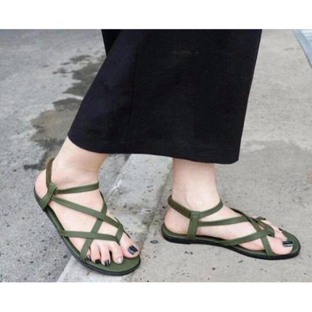 Giày sandal kẹp đan chéo lưới - XANH RÊU