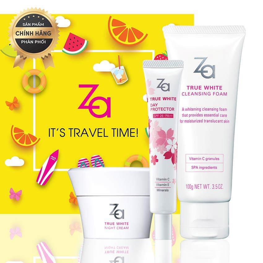 Hình ảnh Bộ dưỡng trắng hoàn hảo mùa hè Za: True White Ex Night Cream 40g + Cleansing Foam 100g + Kem chống nắng Za Day Protector Limited Edition 35g