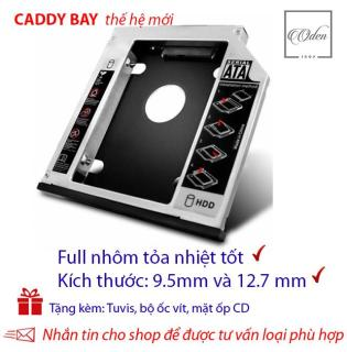 Khay gắn ổ Cứng SSD HDD thứ 2 cho laptop - Full nhôm - dày 12.7mm và mỏng 9.5 mm,SATA, Tặng tuvit & mặt ốp cd thumbnail