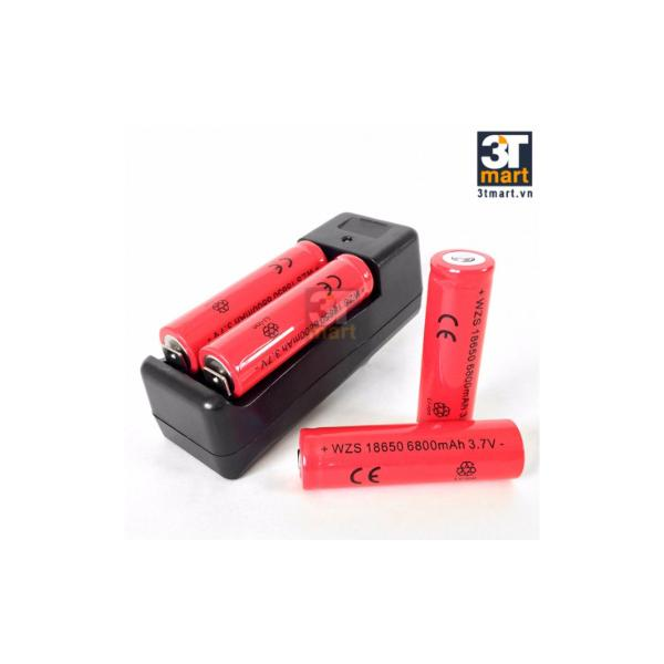 Hình ảnh Bộ sạc đôi và 4 pin sạc liion (Pin đỏ)