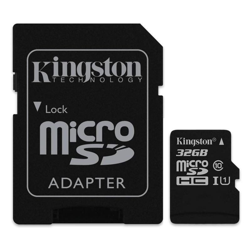Bộ 2 Thẻ nhớ Kingston Micro SDHC Class10 32GB và Adapter (Đen)