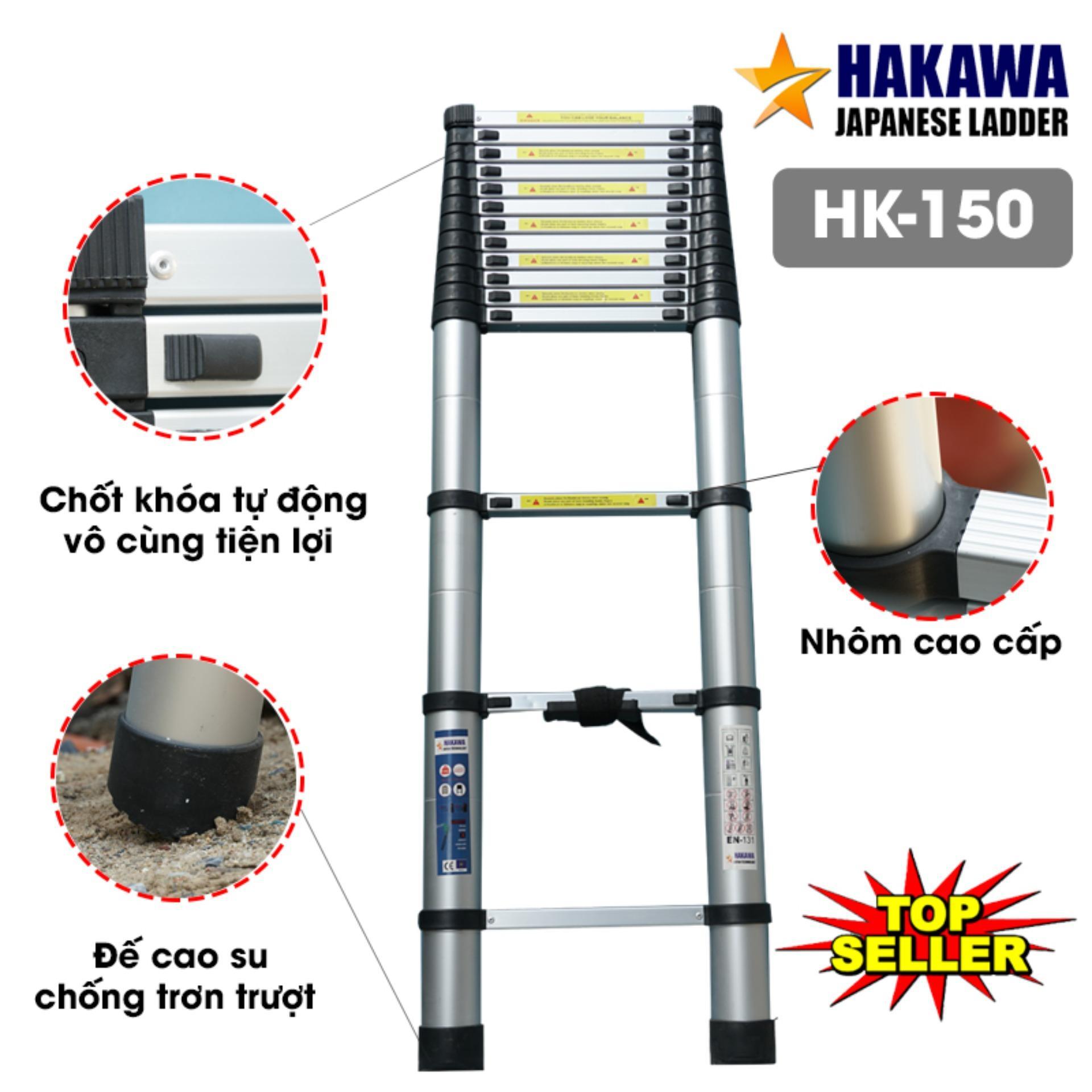 [THANG NHÔM NHẬT BẢN] Thang nhôm rút cao cấp HAKAWA HK150 - Hàng NHẬT BẢN cho người VIỆT