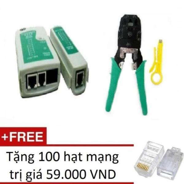 Bộ 1 Hộp test mạng đa năng RJ11/45 + 1 Kìm bấm mạng đa năng + Tặng 100 hạt mạng (Xám nhạt)