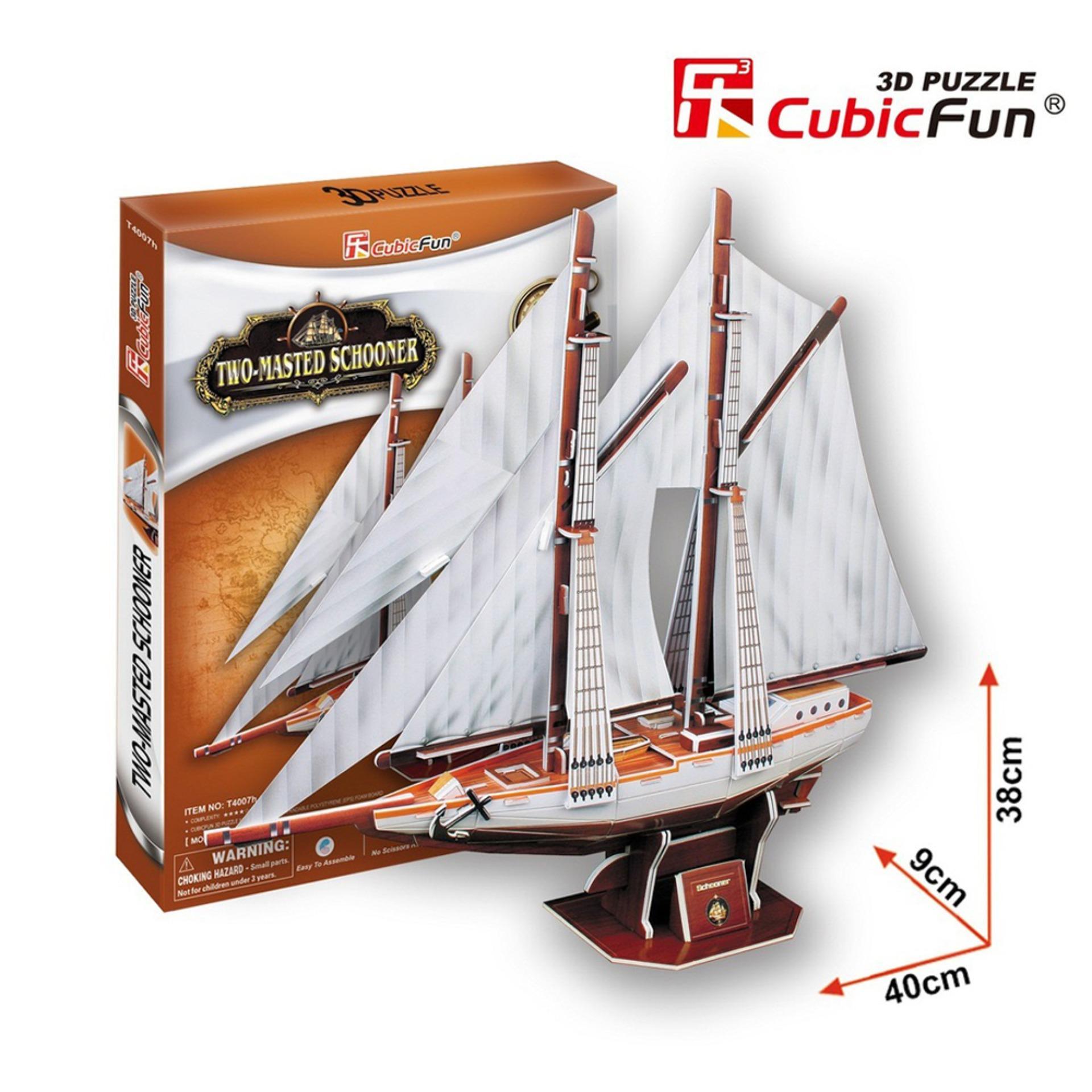 Hình ảnh Đồ chơi xếp hình trí tuệ 3D cỡ vừa - Mô hình thuyền buồm Two Masted Schooner