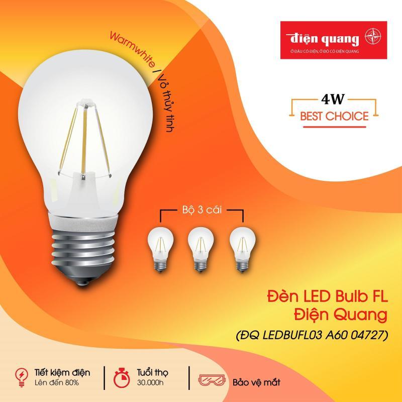 Bộ 3 đèn LED Bulb FL ĐQ LEDBUFL03 A60 (4w, Warmwhite, Vỏ Thủy Tinh)