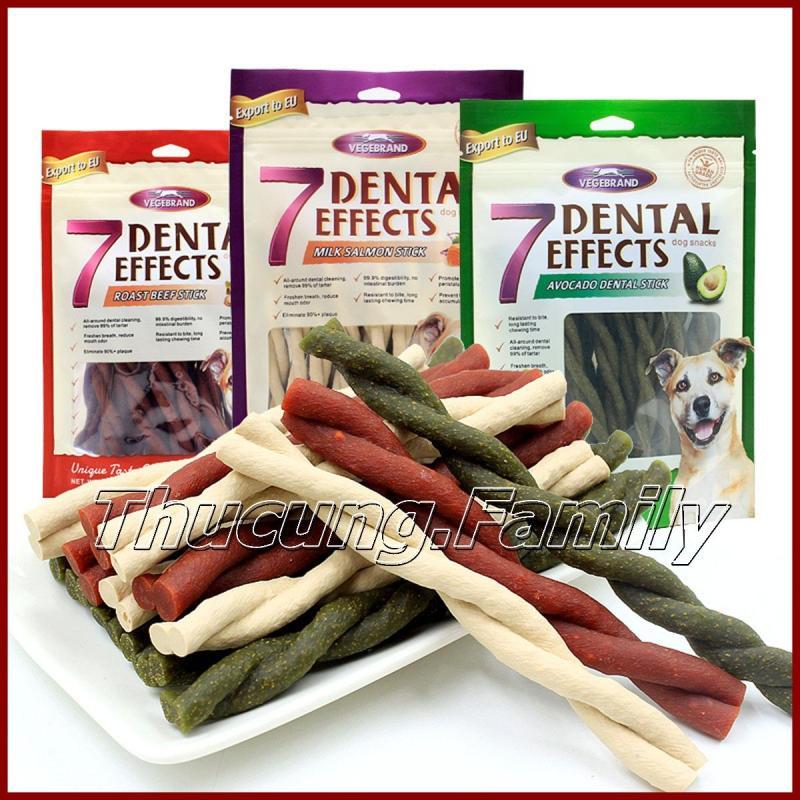 Bánh thưởng 7 Dental, Vệ sinh răng miệng- bổ sung canxi cho Chó- Vị hỗn hợp 160g/gói.