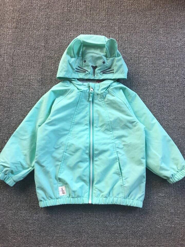 Giá bán Áo gió nữ mũ tai thỏ hãng NMDG cho bé gái thu đông 2018 xuất xịn, Size 2-8 tuổi, xanh mint
