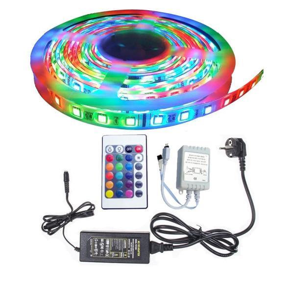 Bộ đèn led 5m 3528RGB trang trí bàn làm việc + Nguồn + Remote