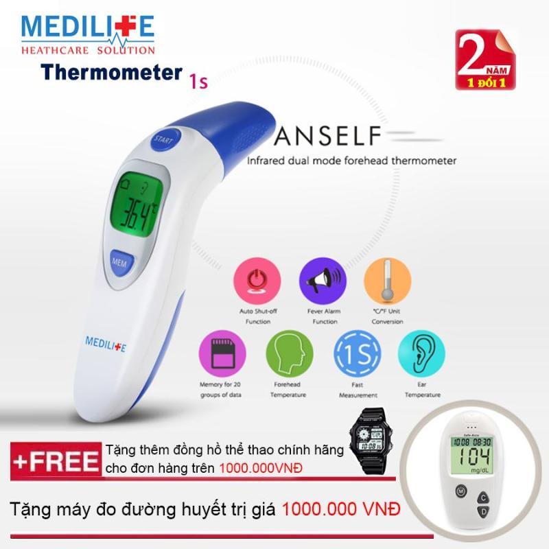 Nhiệt kế điện tử hồng ngoại đo tai và trán Medilife IT - 121 + Tặng bộ máy đo đường huyết Safe - Accu  + Mua từ 2 đơn trở lên tặng thêm đồng hồ thể thao (OEM)