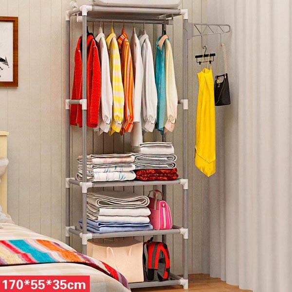 kệ treo quần áo 4 tầng 3 ngăn tiện lợi