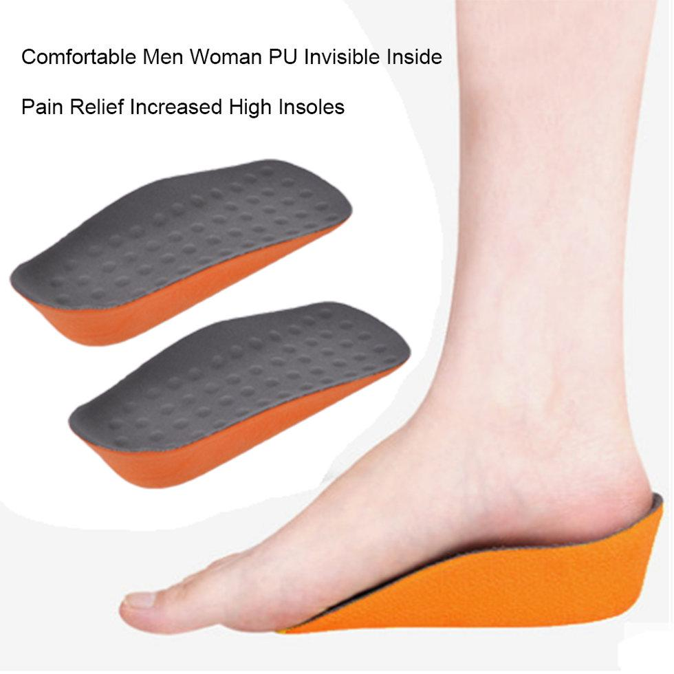 Giá bán GOFT Comfortable Men Woman PU Invisible Inside Pain Relief Increased High Insoles Grey And Orange