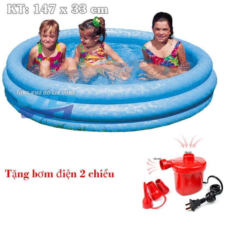 Bể cho trẻ nhỏ 3 tầng 147x33 cm Intex 58426 + Bơm điện 2 chiều