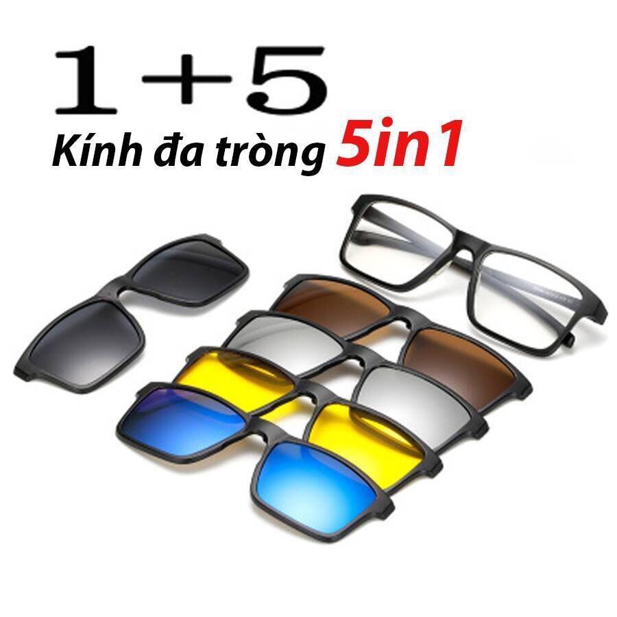 Kính râm Đa tròng 5 màu phủ lớp hấp thụ tia UV (Tặng bao da)