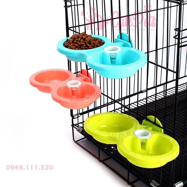 [Size Lớn] Bát đôi gắn chuồng ăn uống cấp nước tự động dành cho thú cưng