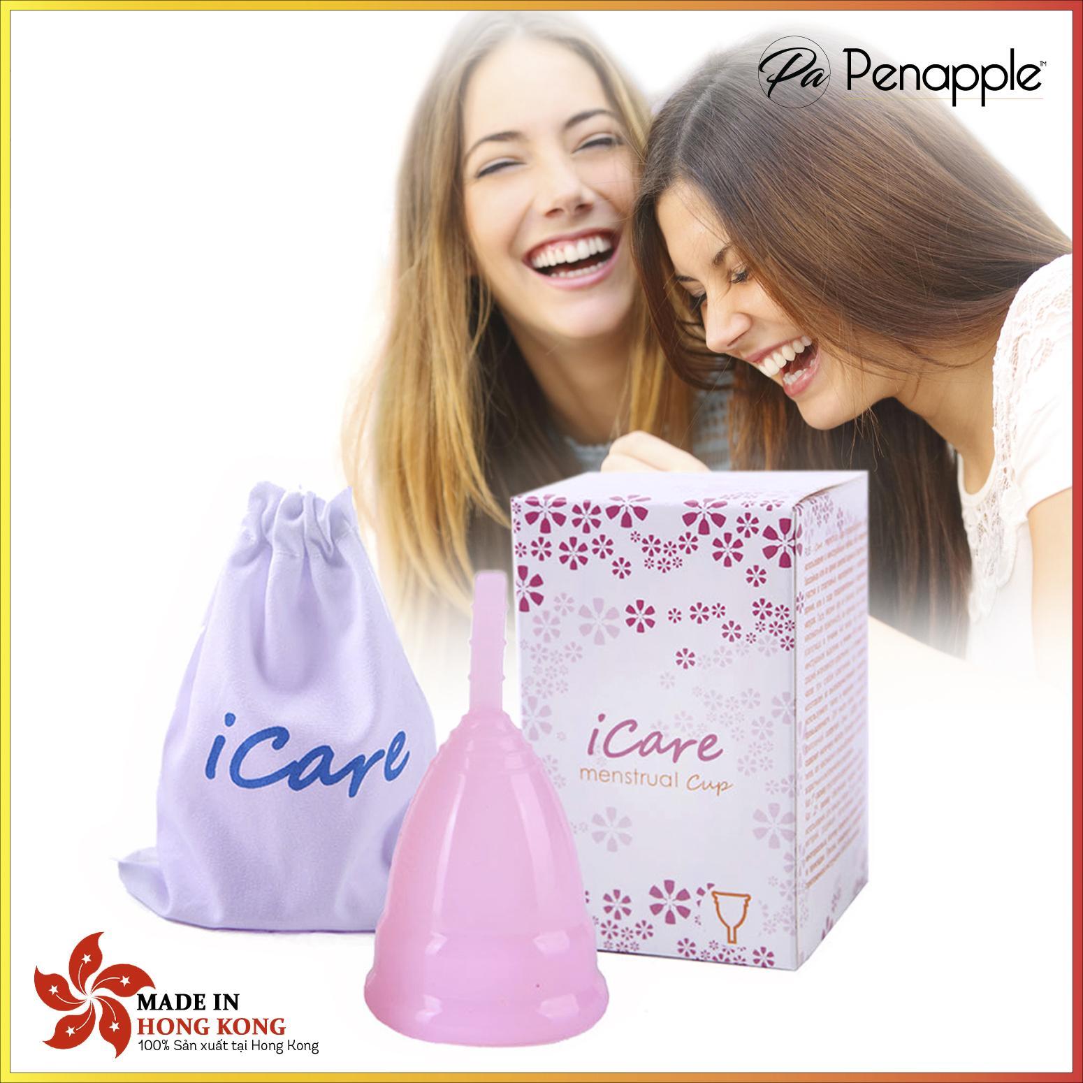 Cốc nguyệt san silicone CAO CẤP thay thế băng vệ sinh và tampon Icare - màu hồng - sản xuất tại Hồng Kông