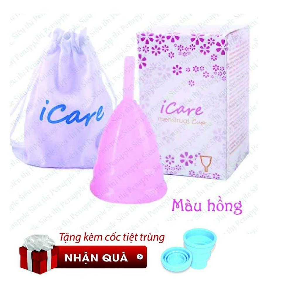 Hình ảnh Cốc nguyệt san silicone CAO CẤP thay thế băng vệ sinh và tampon Icare - Màu Hồng - Phiên bản Nhật Bản - sản xuất tại Hồng Kông