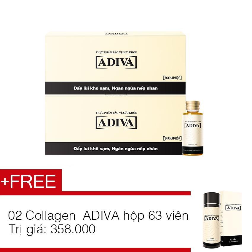 Bộ 2 dưỡng chất uống làm đẹp ADIVA Collagen hộp 14 chai x 30ml + tặng 2 hộp Collagen ADIVA 63 viên trị giá 358.000đ