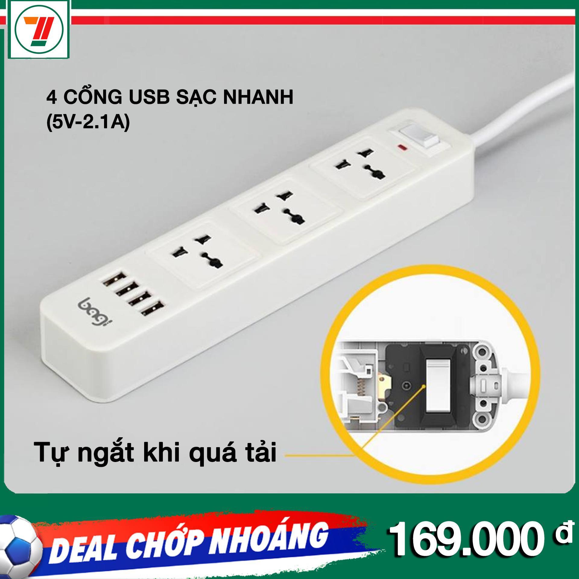 Ổ cắm đa điện năng 4 cổng USB 3 ổ điện thương hiệu Bagi thông minh tự ngắt khi quá tải, an toàn, tiện lợi