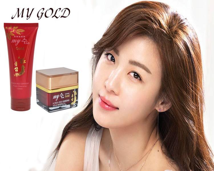Combo Sữa rửa mặt hồng sâm+ Kem hồng sâm Hàn Quốc my gold tốt nhất